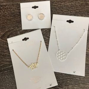 LC Lauren Conrad Bundle of Floral & Lotus Jewelry